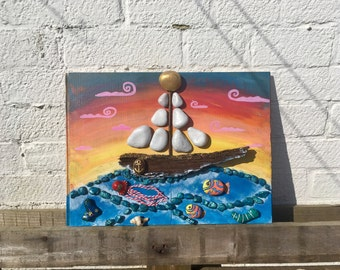 Hand painted pebble art Sailor's Dream