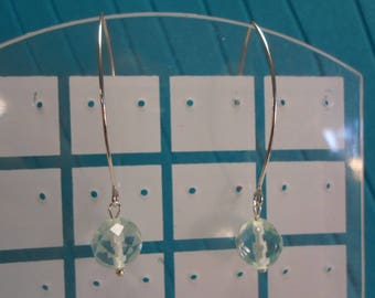 Blue Topaz Earrings/ Faceted Round Graduated Beads