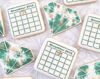 Save the Date Calendar cookies and Gems - Any color- one dozen Decorated Cookies