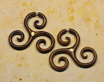 Fake Gauge - Tribal Tri-Spiral -  Tropical Wood - Mother of Pearl Inlay