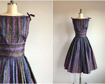 Vintage 50s Dress / 1950s Striped Taffeta Boatneck Sundress with Gathered Skirt