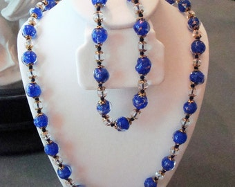 Vintage Demi Parure Blue & Gold Swirls Encased in Clear Glass, Clear Glass Beaded Necklace, Bracelet - Circa 1990 - Excellent Condition!!