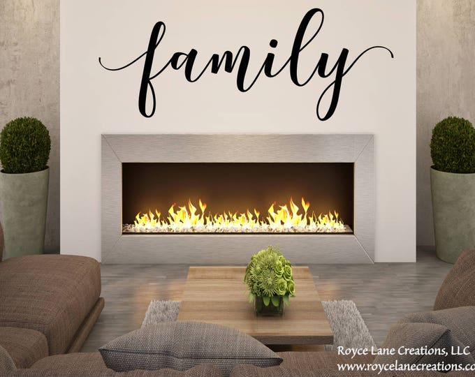 Family Wall Decal /Handwritten Font Family Decal /Family Lettering /Family Decal /Family Decal for Wall/Handwritten Script Font Family Decal