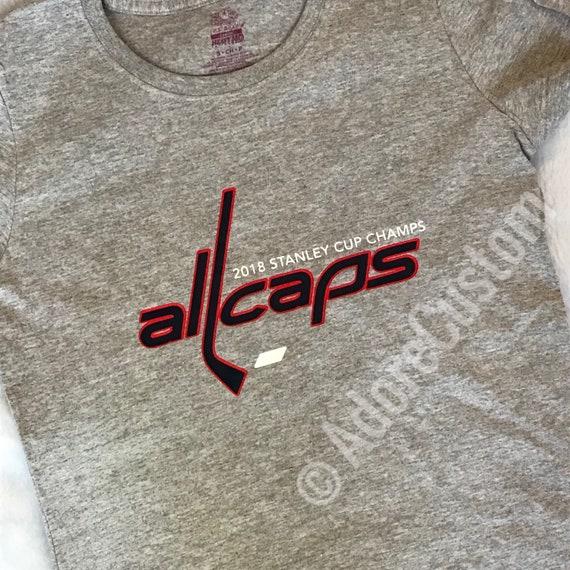 Washington DC Capitals Hockey All Caps Tee Shirt T-Shirt Grey 9feda8d9e