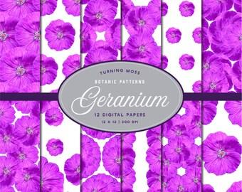 Geranium Digital Paper -Cranesbill Geranium Flower Paper -Digital Flowers -12x12 Floral Papers -Scrapbooking Pink Flowers -Digital Botanics
