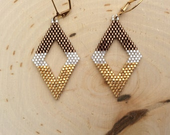 "Delica Beaded Earrings ""Salted Carmel"""