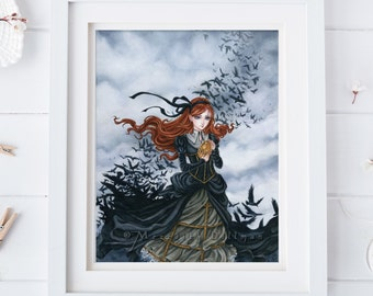 Steampunk art | Raven print | Crows | Victorian Gothic | fantasy art | Meredith Dillman