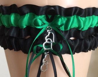 Wedding Garter Set, Bridal Garter Set, Black and Emerald Green Garter Set, Keepsake Garter, Prom Garter, Wedding Accessories