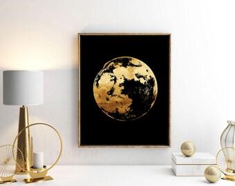 Moon Silhouette - Gold Foil Print - Contemporary Wall Art - Modern Room Decor - Handmade Gold Print - Gift Idea - Decor Inspiration