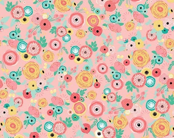 Floral Cotton Flannel Fabric- Coral, Mint, Pink, and Gold Modern Flower Just Sayin Floral- Riley Blake Designs by My Minds Eye Floral Fabric