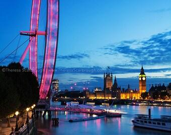 London Eye & Parliament over River Thames Skyline Dusk, landscape photography wall art decor