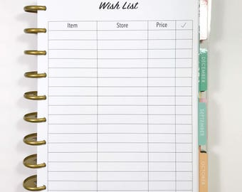 Wishlist Inserts for Medium, Classic Happy Planner, Discbound Planner