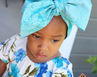 Teal Pearl headwrap, headwrap, fabric head wrap, baby headwrap, toddler headwrap, newborn headwrap, baby headband, floral headwrap