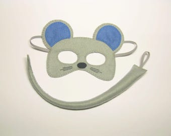 Mouse mask tail set for boy Grey felt handmade animal party costume accessory soft kids School Pretend Dress up play