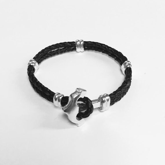 Anchor of sterling silver with leather bracelet- DD CUSTOM JEWELRY