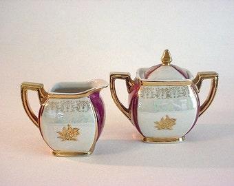 Lovely Vintage Ceramic Luster Ware Cream and Sugar Pair- Japan