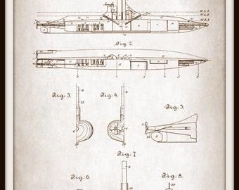 Art Print Submarine Patent Victorian 1892 - Print