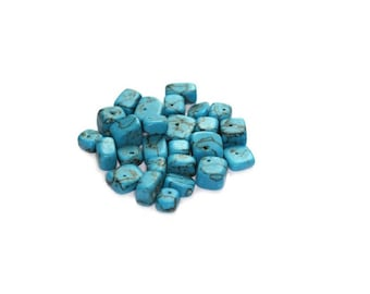 Full Strand Turquoise beads, Turquoise chips, Turquoise chip beads, raw Turquoise, genuine Turquoise, blue Turquoise, bead supply, 5-10 mm