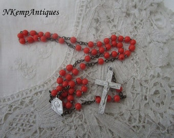 Coral glass rosary 1930's