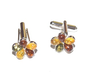 sterling silver and natural baltic amber cuff links