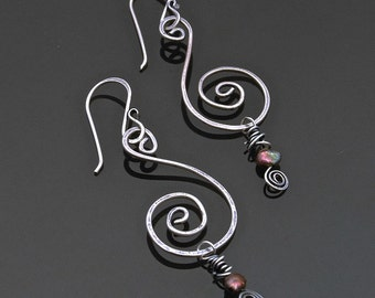 Simple Spiral Earrings with Beaded Dangle Instructional PDF by Deb Guess