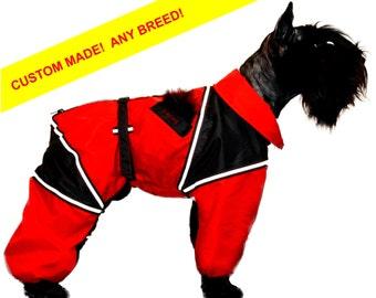 ANY BREED! Custom Dog Raincoat. Full Body Dog Overall. Dog Rain Jacket.