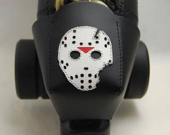 "Leather Skate Toe Guards with ""Jason"" Hockey Mask"