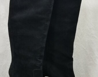 Charles David Black Suede Knee High Pointy Toe Stiletto Boots/Booties sz 8