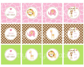 GIRL MOD JUNGLE cupcake toppers - You Print - Baby Shower or Birthday