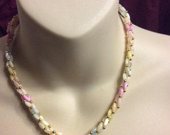 Vintage roped pastel acrylic tube beads beaded necklace