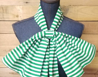 Green Striped Oversized Bow tie