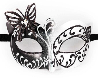 Masquerade Mask, Masquerade Mask, Butterfly Mask, Silver/Black Mask, Wedding Masquerade Mask, Mardi Gras Masquerade Mask, Masquerade Ball