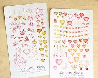 Valentines 2-pack ~ Hearts & Love Watercolor Planner Stickers (Inkwell Press, Erin Condren, Plum Paper, Fliofax, Kikki K, Happy Planner)