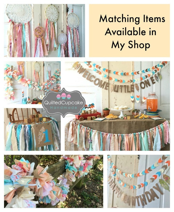 Boho Chic Happy Birthday Banner Party Supplies Sign
