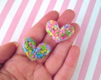 3 Multicolor Confetti Heart Cabochons, Cute Colorful Cabs, #902
