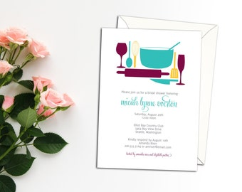 Everything but the Kitchen Sink Shower Invitation, Cooking Party Invitation, Event Invitation