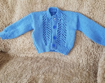 Baby boy's hand knitted cardigan