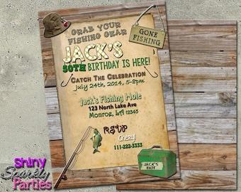 FISHING BIRTHDAY INVITATION - Fishing Invitations - Fishing birthday party - Rustic Outdoor Fisherman Party Invite - Fishing Party Invite