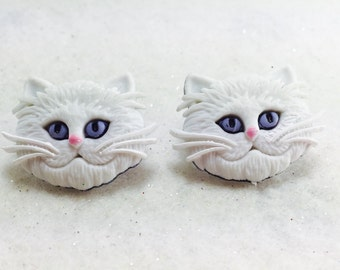 Cat Earrings, Kitty Earrings, Cat Lover Earring, Animal Earrings, Cat Stud Earrings, White Cat Earrings, Cat Face Earrings, Cat Stud Earring