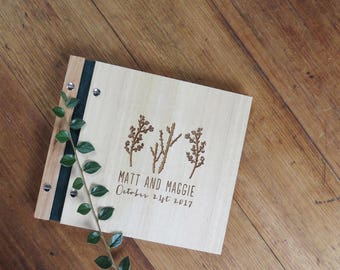 Cacti Wedding Guest Book, Wood Guest Book, Engagement Gift, Bridal Shower