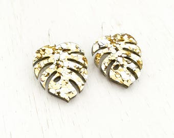 Monstera Gold - Glitter silver & gold Perspex Earrings with Sterling Silver hooks - laser cut - crazy indoor plant lady - glam acrylic