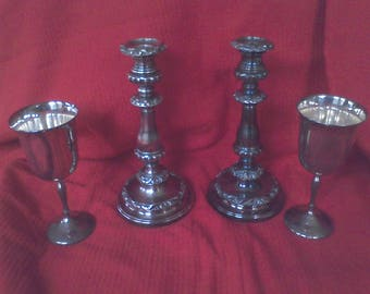 2 candle holders,  Silver Plated, 2 Goblets,candle sticks, centerpeice, wedding candles, home decor, solid brass
