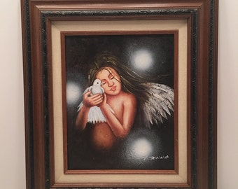 Vintage Angel with Dove Picture ~ Artist signed E. Donna