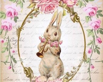 Listing for Spring Pink Rose Easter Bunny Fabric Blocks Blocks