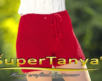 Red wool shorts made to order by SuperTanya