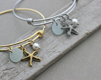 stainless steel adjustable beach bangle bracelet - gold or silver -  starfish charm, genuine sea glass and Swarovski crystal pearl
