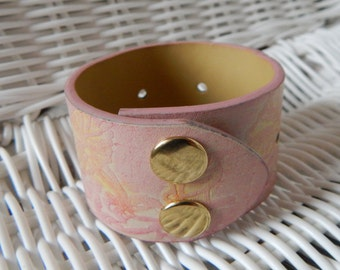 Cuff Bracelet in Pink and Cream, Double Snap - Breast Cancer Awareness (G2P1115)