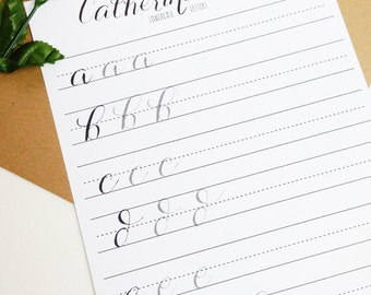 Modern Calligraphy Practice Worksheets | Lowercase Letters | Calligraphy Practice with Sample Letters A through Z | Catherine Style
