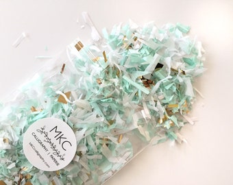Mint, White, & Gold Tissue Confetti / Rough Cut / Handmade / Bridal Shower, Baby Shower, Birthday's, Weddings, etc.