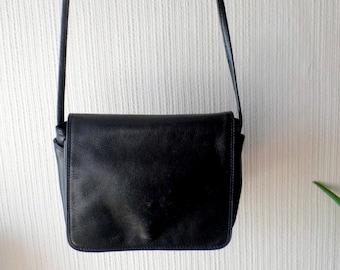 Small Leather Crossover Black Bag, Ladies Shoulder Bag, Teenager's Secure bag.